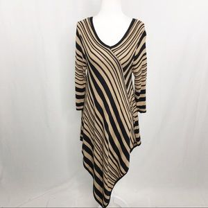 NY Collection Asymmetrical Sweater Dress, Size Med